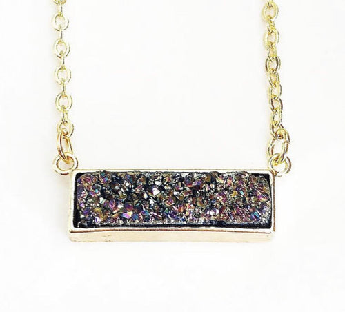 Gold Rainbow Druzy Bar Necklace