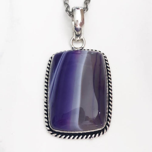 Silver Purple Agate Necklace