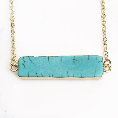 Gold Turquoise Howlite Bar Necklace