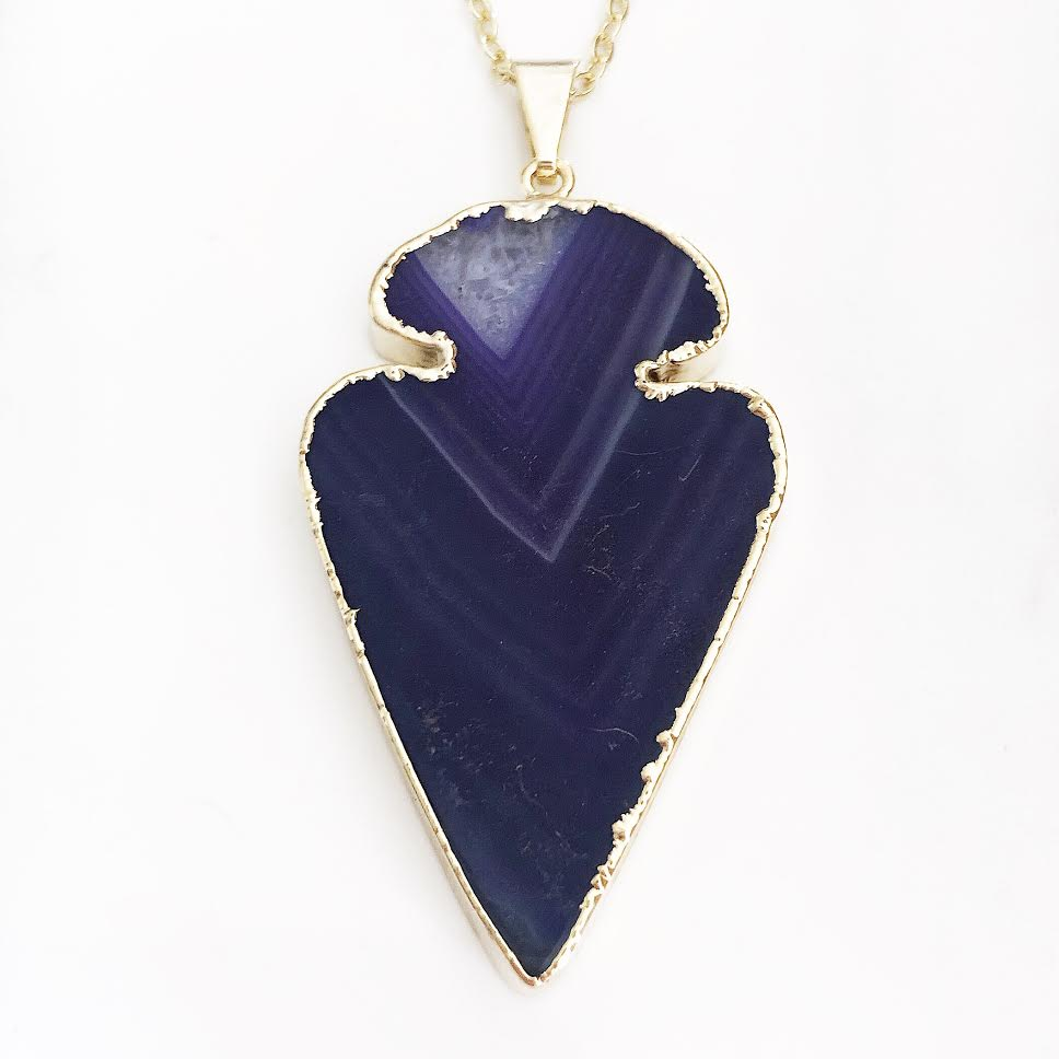 Gold Purple Agate Arrowhead Necklace
