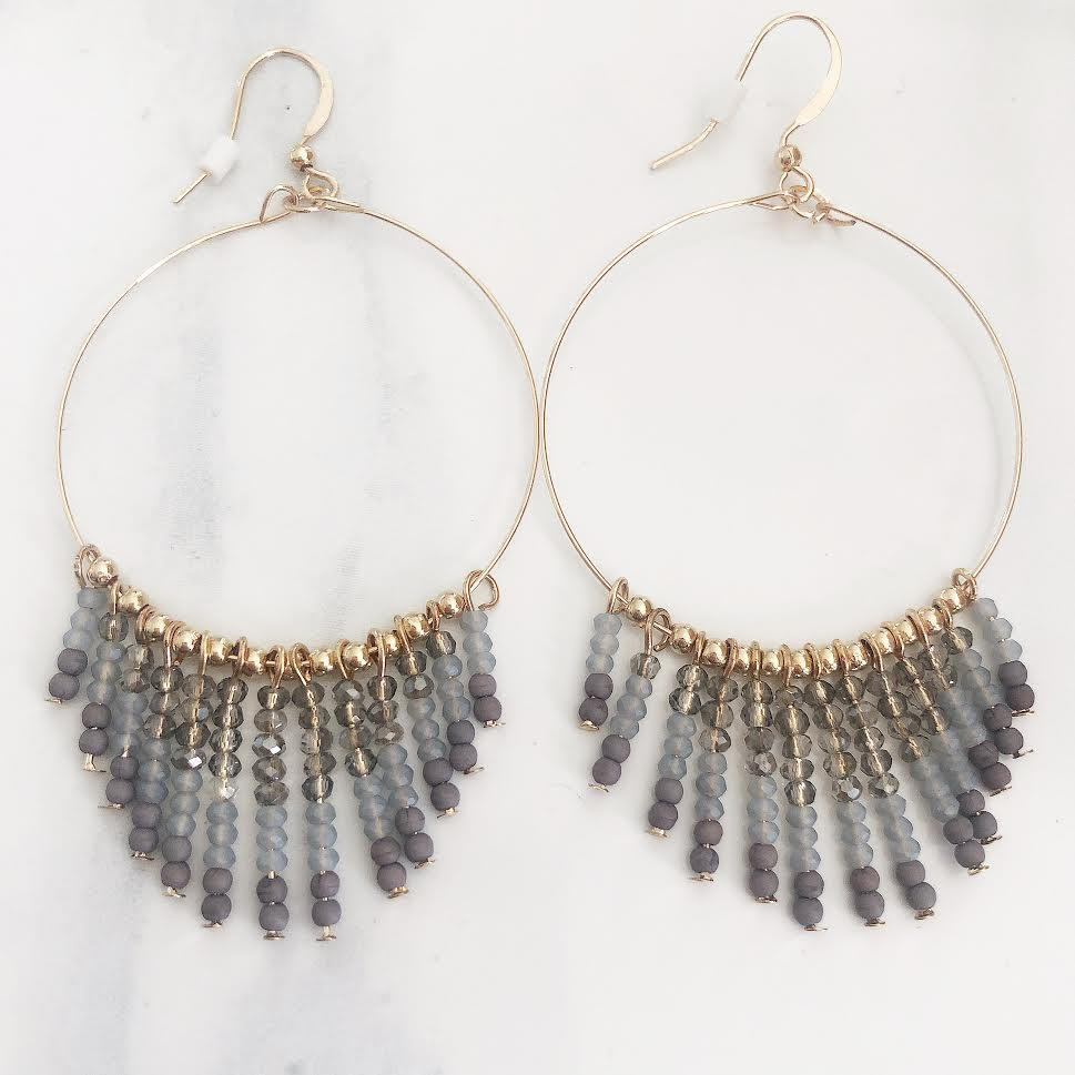 Gold Grey Beaded Fringe Hoop Drop Earrings