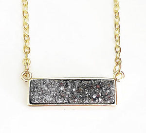 Gold Silver Druzy Bar Necklace