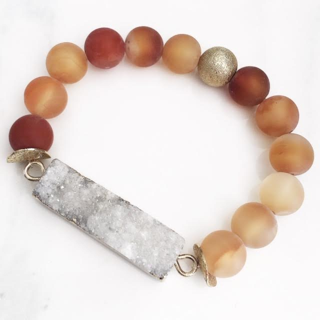 Gold White Druzy Bar Frosted Orange Agate Bracelet