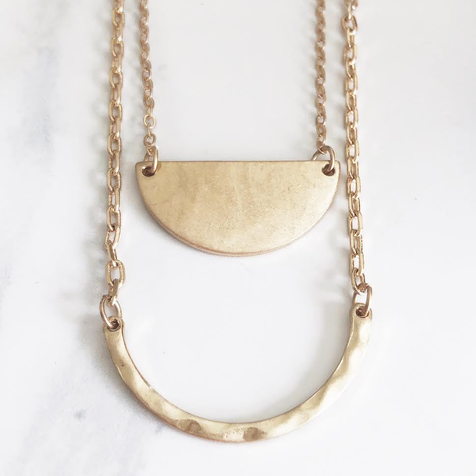 Gold Layered Hammered Curved Bar Necklace