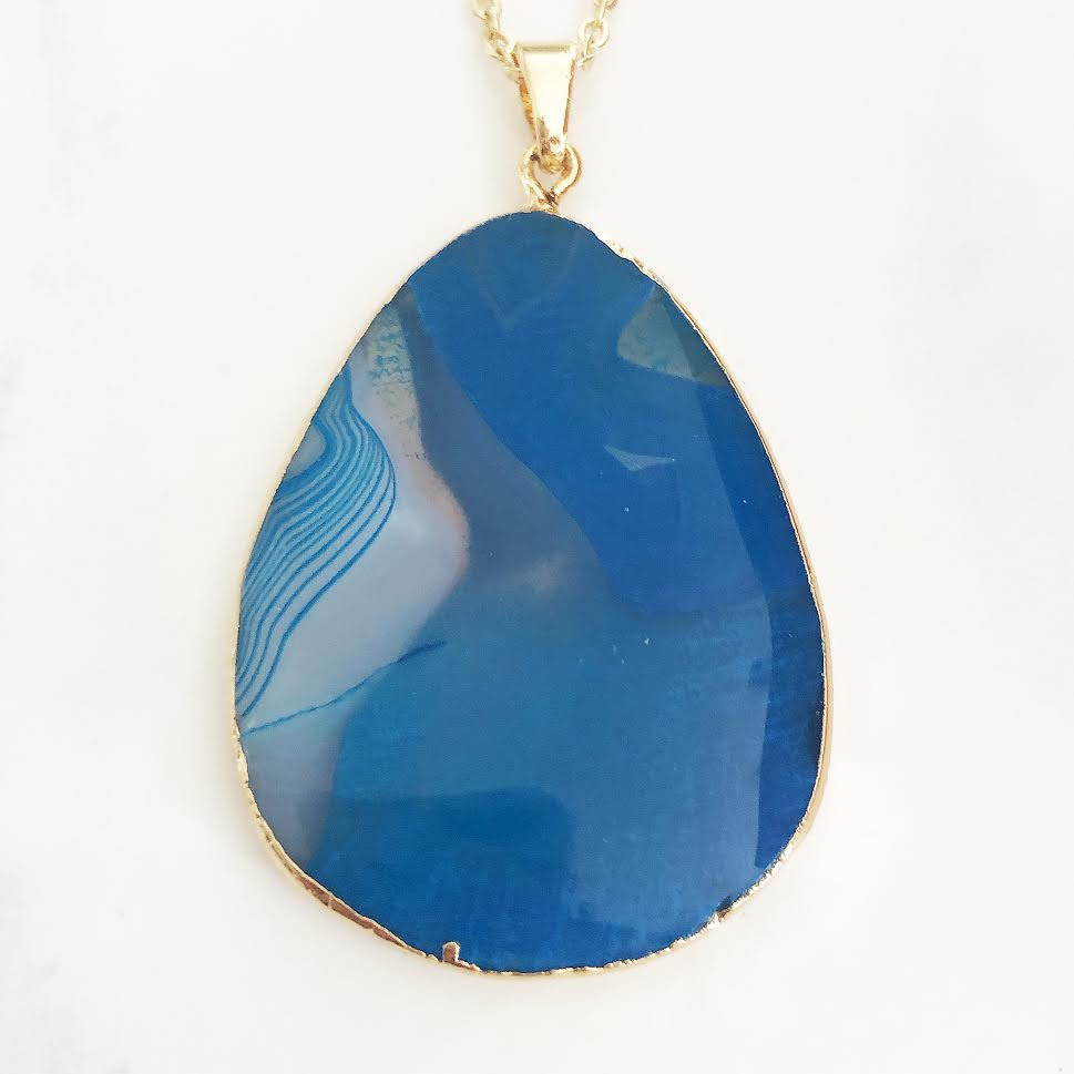 Gold Blue Agate Necklace