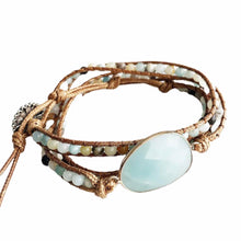 Load image into Gallery viewer, Mint + Amazonite Sunflower Wrap Bracelet