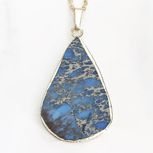 Gold Blue Sea Sediment Necklace