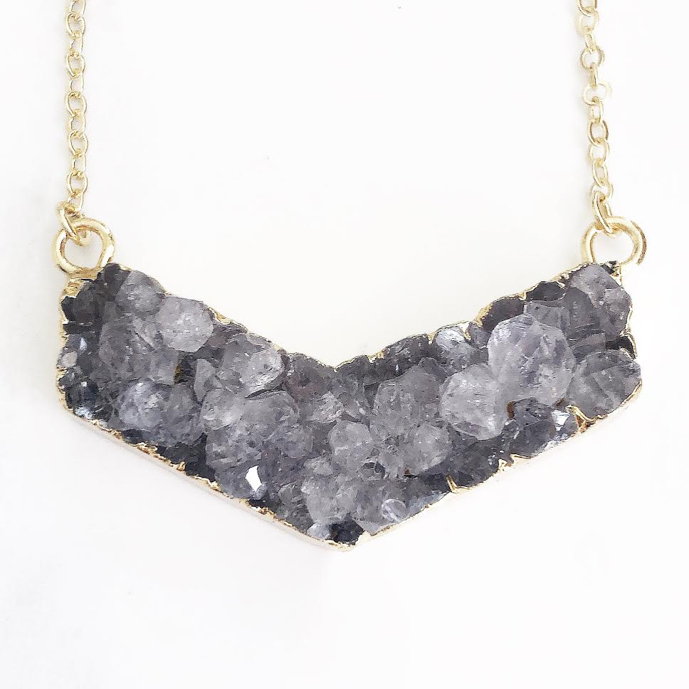 Gold Amethyst Druzy Boomerang Necklace