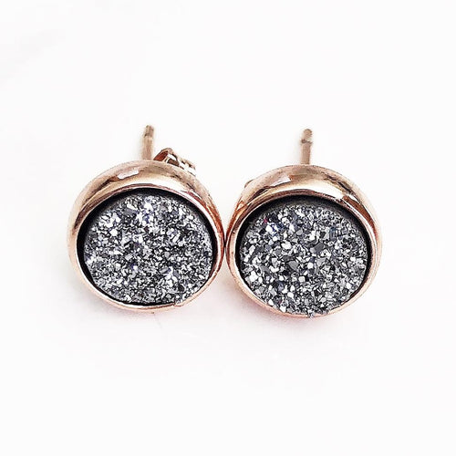 Rose Gold Silver Druzy Studs