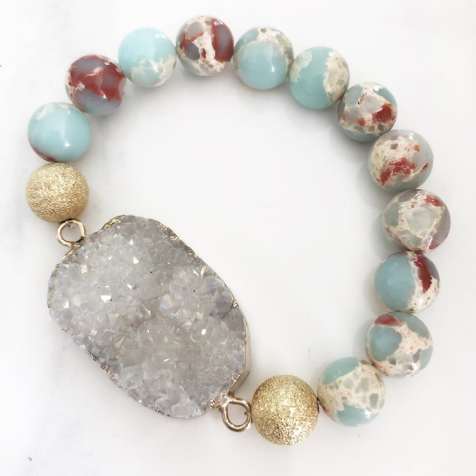 Gold Sea Sediment Powder Blue Jasper White Druzy Bracelet