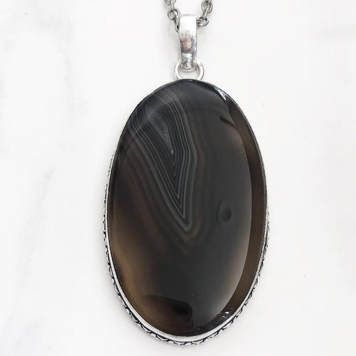 Silver Natural Brown Agate Necklace