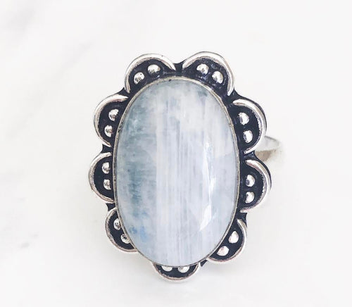 Silver Blue Moonstone Ring