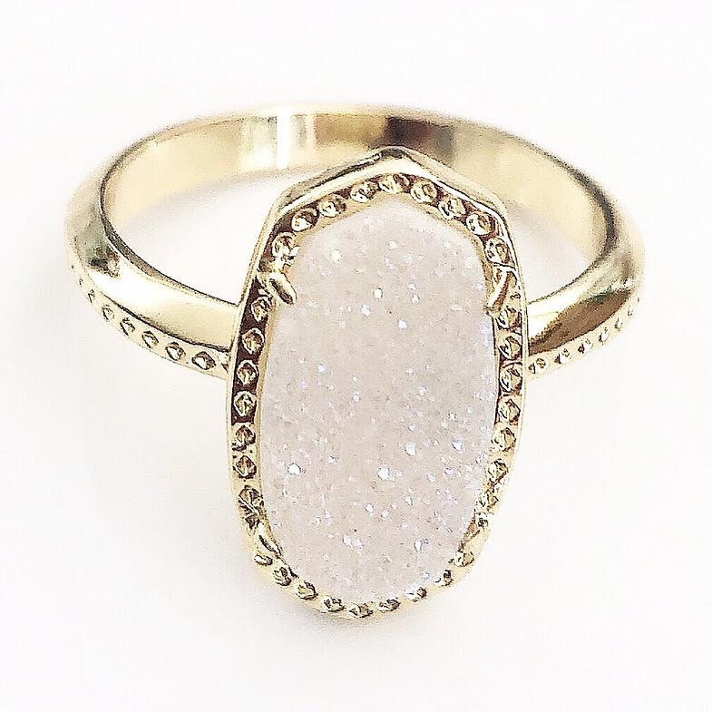 Gold Light Blush Druzy Claw Ring