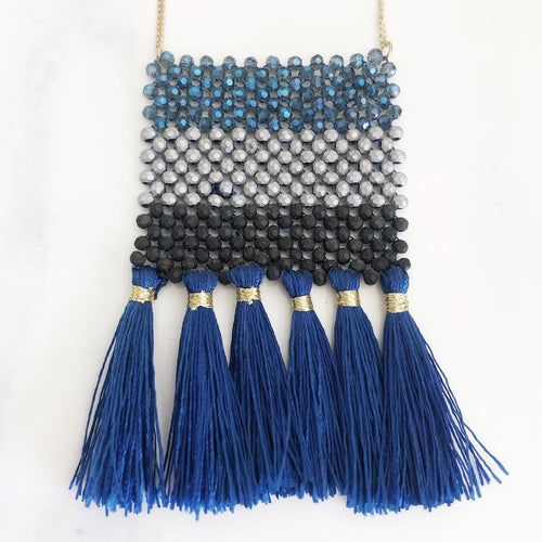 Gold Blue, Black + Grey Seeded Tassel Necklace