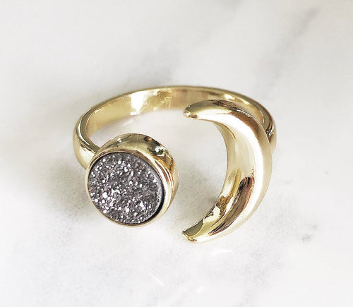 Gold Silver Druzy Adjustable Moon Ring