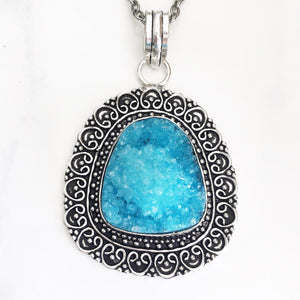 Silver Turquoise Druzy Necklace