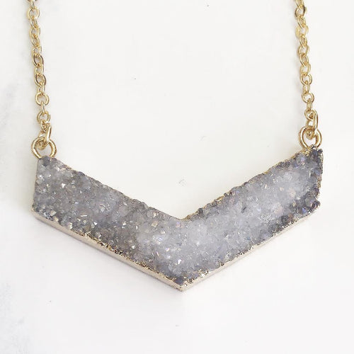 Gold White Druzy Boomerang Necklace