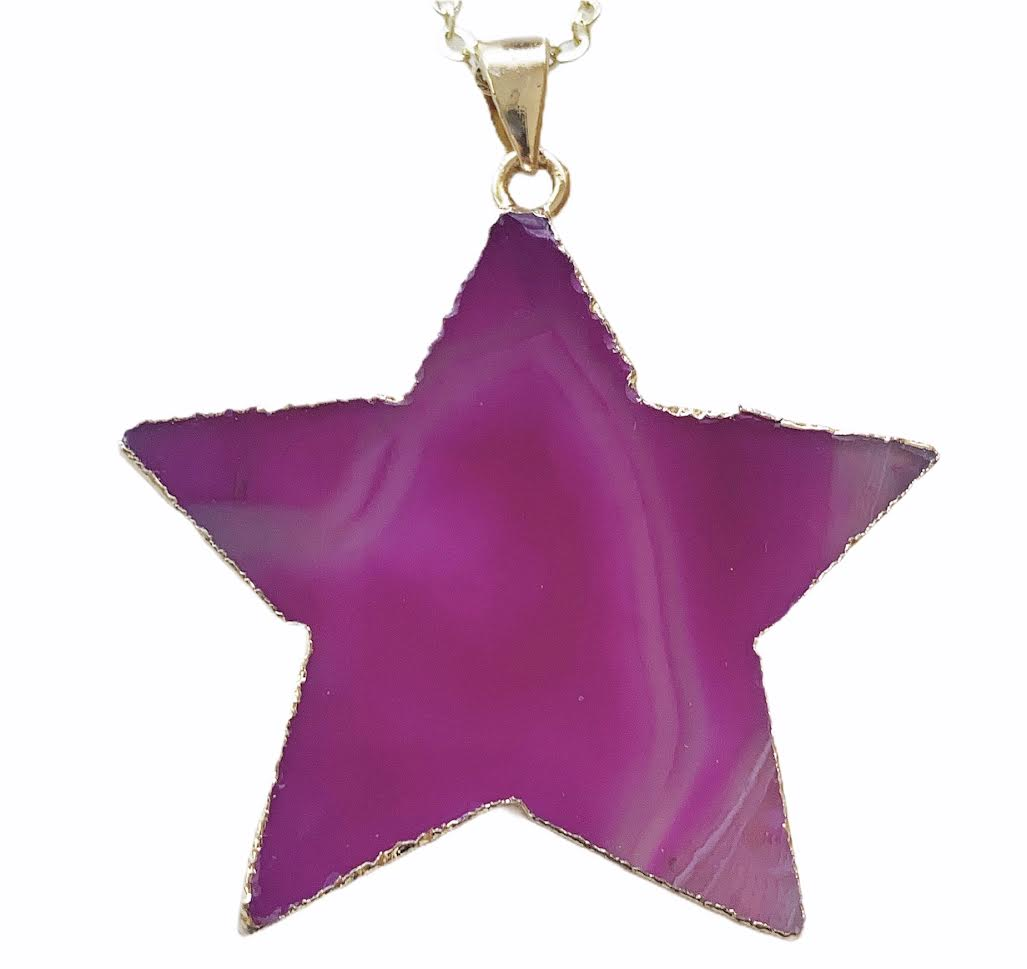 Gold Pink Agate Star Necklace