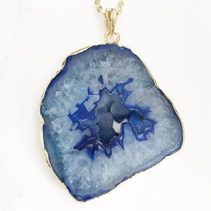 Gold Blue Geode Slice Necklace