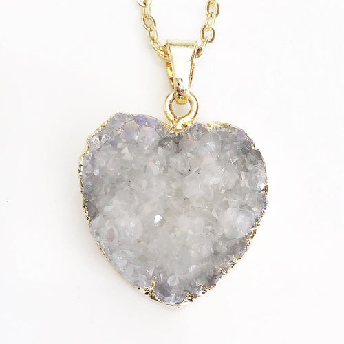 Gold White Druzy Heart Necklace