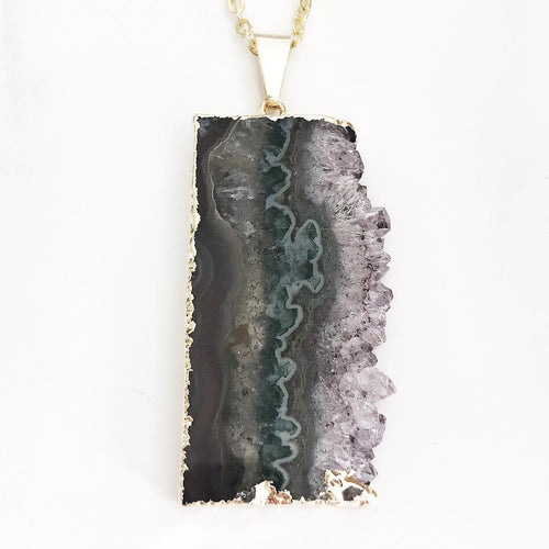 Gold Raw Amethyst Necklace