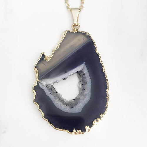 Gold Purple Geode Necklace