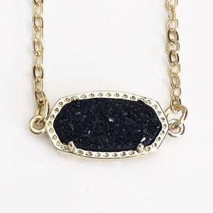 Gold Black Druzy Claw Necklace