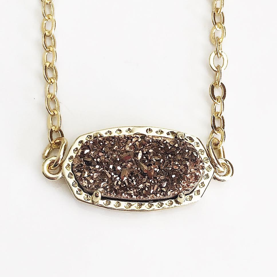 Gold Rose Gold Druzy Claw Necklace