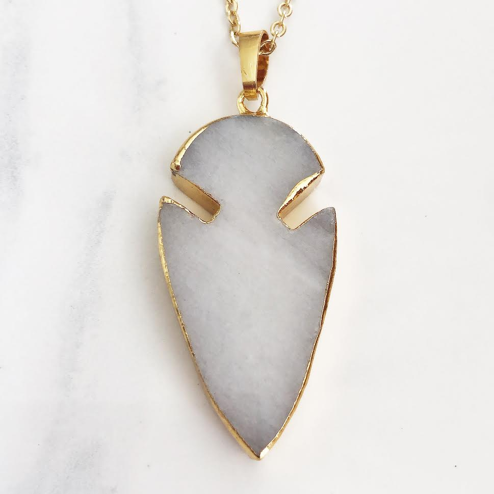 Gold Natural White Jade Arrowhead Necklace