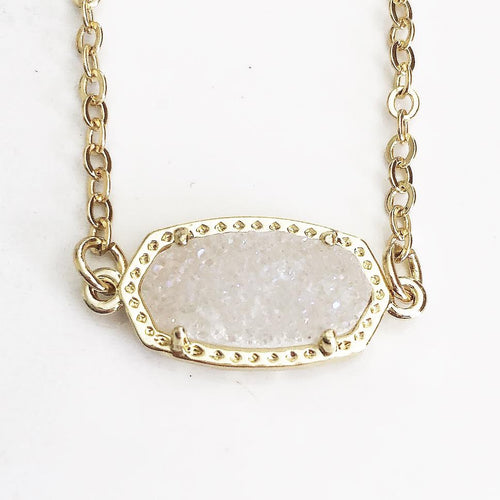 Gold Light Blush Druzy Claw Necklace