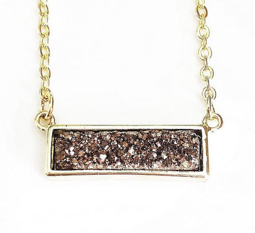 Gold Rose Gold Druzy Bar Necklace