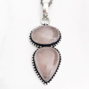 Silver Rose Quartz Necklace