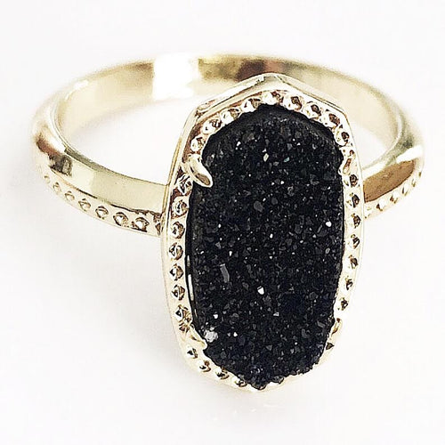 Gold Black Druzy Claw Ring