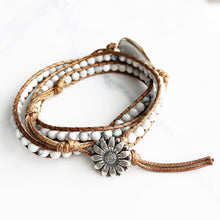 Load image into Gallery viewer, White Howlite Sunflower Wrap Bracelet