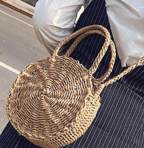 Woven Straw Round Shoulder Bag