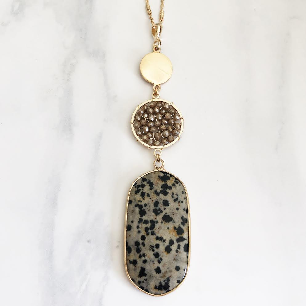 Gold Beaded + Oval Dalmatian Jasper Necklace