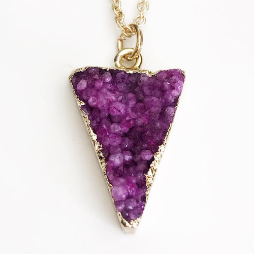 Gold Magenta Druzy Triangle Necklace