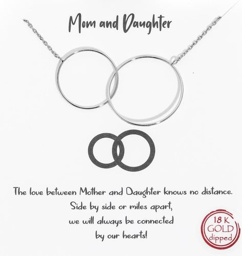 Silver Mom + Daughter Necklace