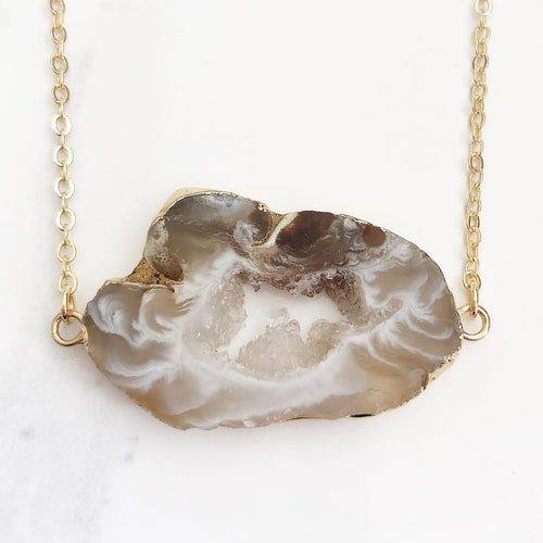 Gold Geode Bar Necklace