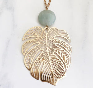 Gold Mint Leaf Necklace