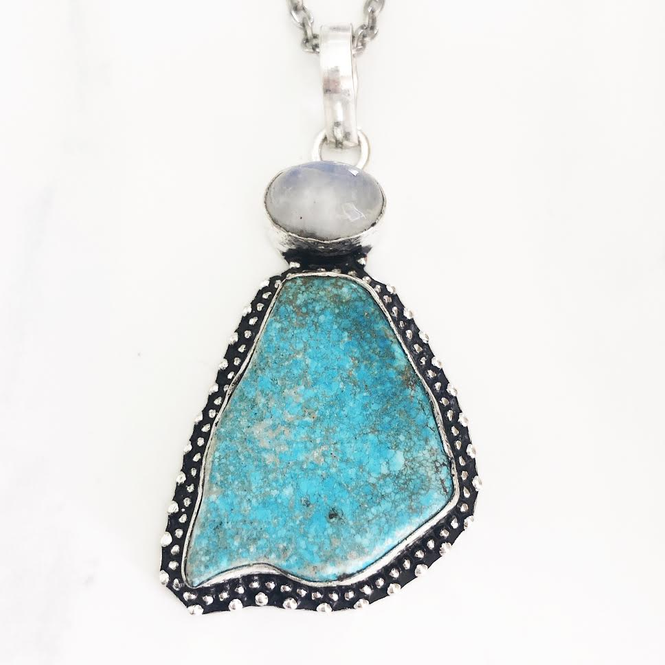Silver Turquoise Sea Sediment + Moonstone Necklace