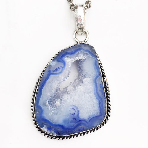 Silver Blue Geode Necklace