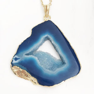 Gold Blue Geode Necklace
