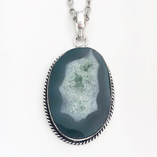 Silver Turquoise Geode Necklace