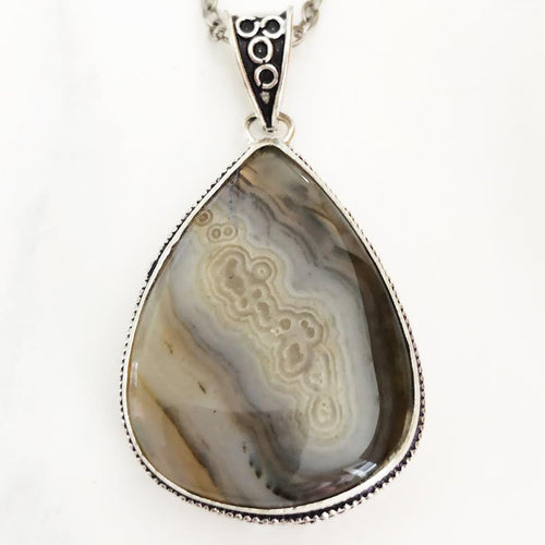 Silver Crazy Lace Agate Necklace