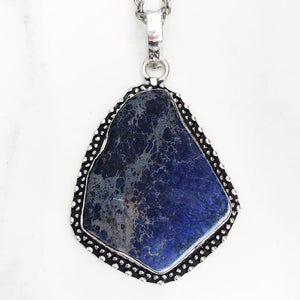Silver Blue Sea Sediment Necklace