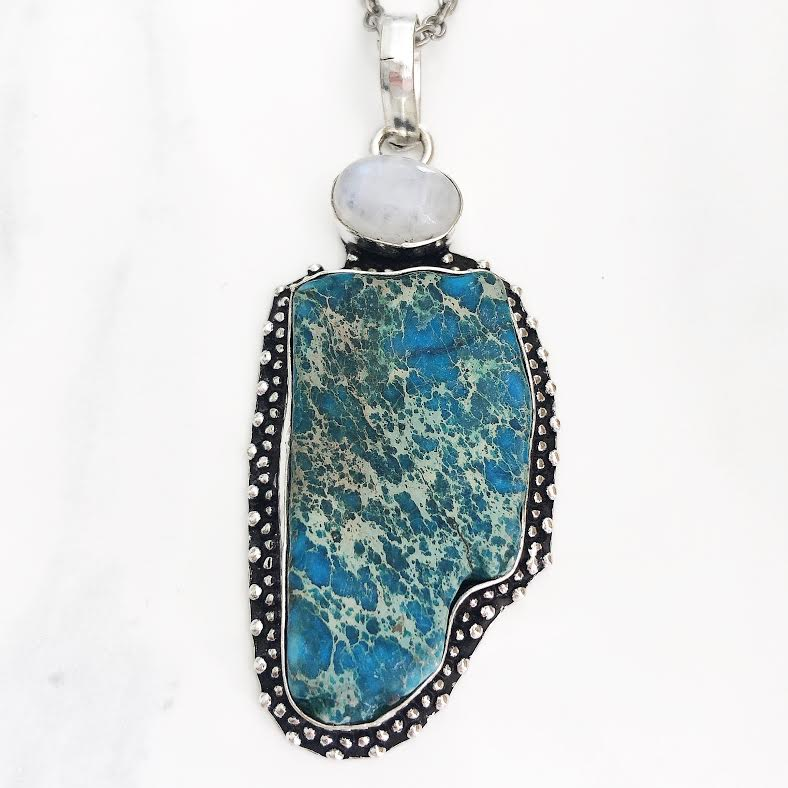 Silver Moonstone + Turquoise Sea Sediment Necklace