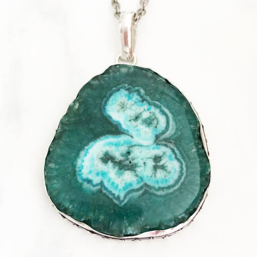 Silver Green Solar Quartz Necklace