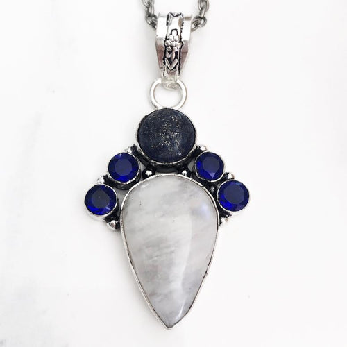 Silver Moonstone, Lapis, + Blue Quartz Necklace