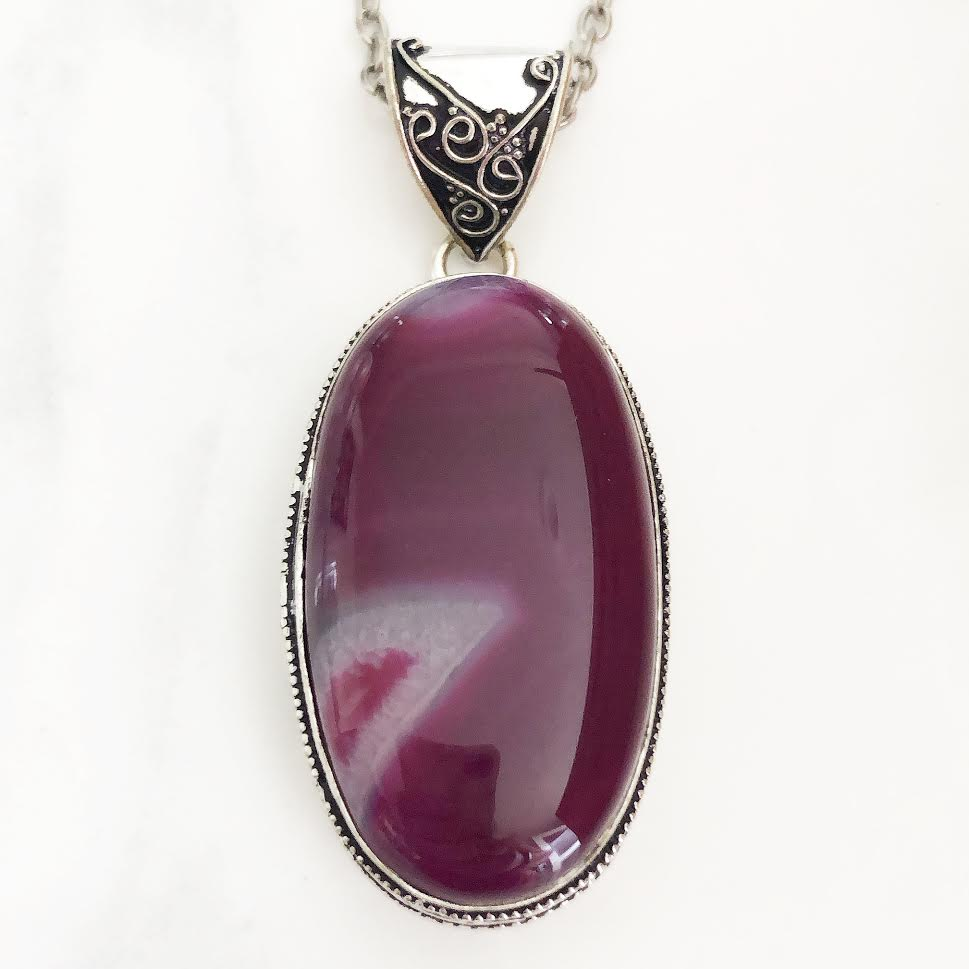 Silver Purple + Pink Agate Necklace